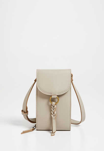 Taupe Braided Strap Crossbody Bag