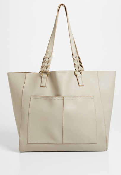 Taupe Braided Strap Tote Bag