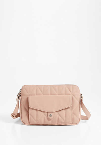 Blush Quilted Crossbody Bag