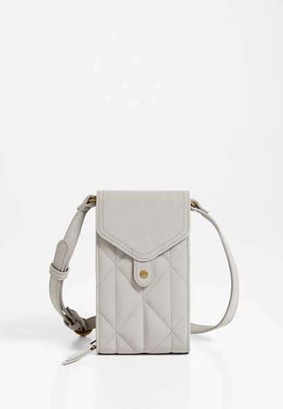 Light Gray Quilted Crossbody Bag
