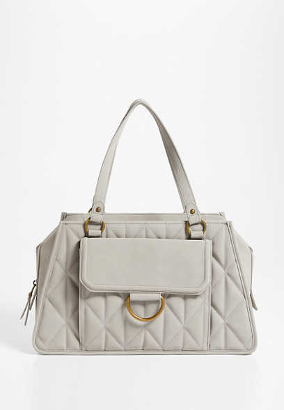 Light Gray Quilted Satchel Bag