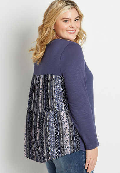 Plus Size Navy Floral Back Long Sleeve Top