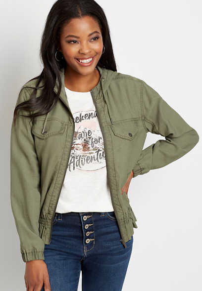Green Peplum Cropped Hooded Military Jacket