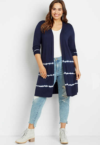 Plus Size Navy Tie Dye Open Front Duster Cardigan