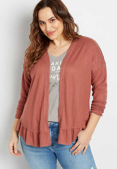 Plus Size Solid Ruffle Hem Open Front Cardigan