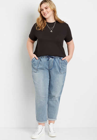 Plus Size Medium Marble Wash Denim Weekender Pant