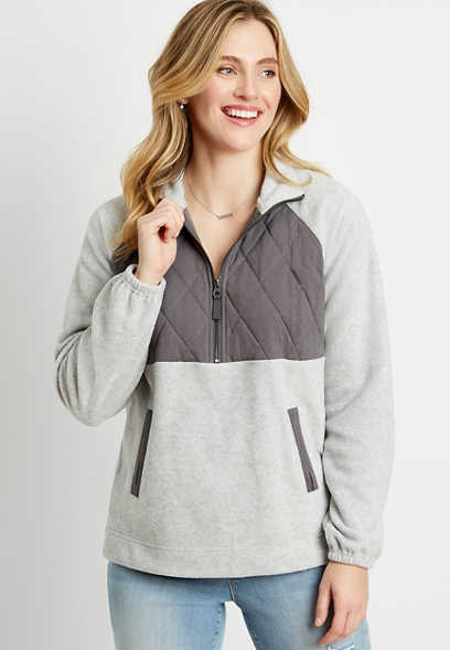 Gray Quilted Yoke Quarter Zipper Fleece