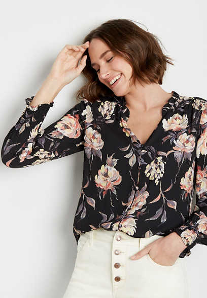 Black Floral Button Down Ruffle Neck Blouse