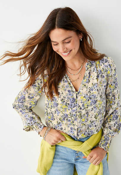 Yellow Floral Button Down Ruffle Neck Blouse