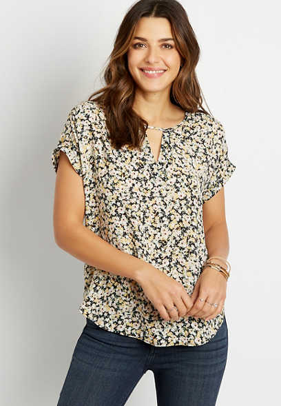 Black Floral Cut Out Neck Short Sleeve Blouse