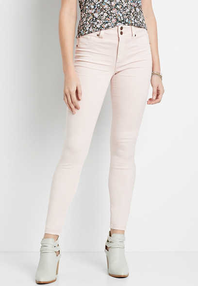 High Rise Light Pink Double Button Jegging Made With REPREVE®