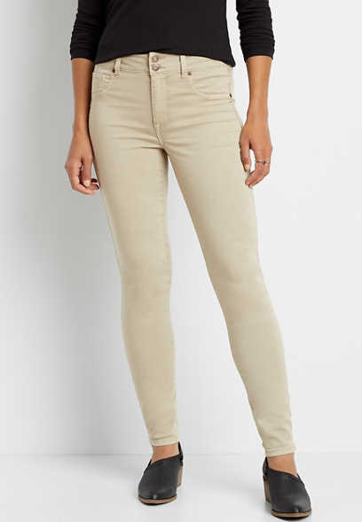 High Rise Khaki Double Button Jegging Made With REPREVE®