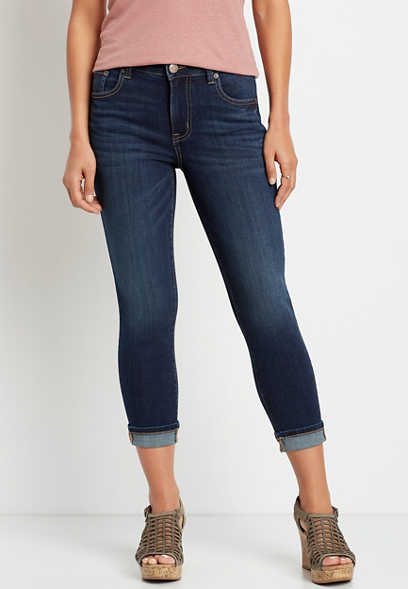 DenimFlex™ High Rise Dark Wash Cuffed Cropped Jean