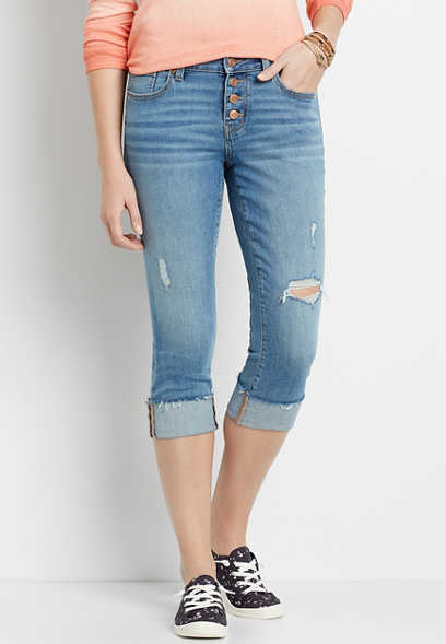 DenimFlex™ Medium Destructed Button Fly Cuffed Capri