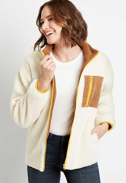 White Sherpa Contrast Zipper Jacket