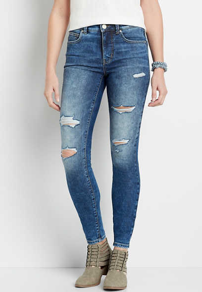 Everflex™ High Rise Dark Destructed Stretch Super Skinny Jean