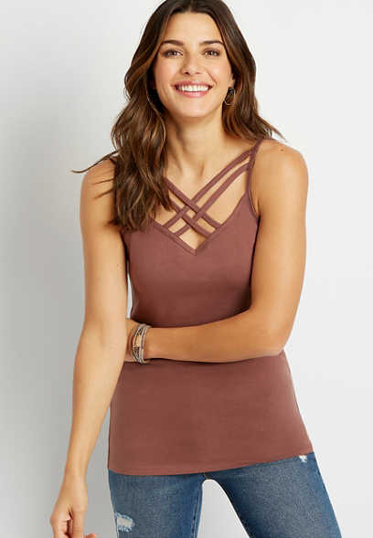 Solid Strappy Neck Cami