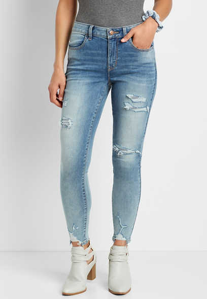 DenimFlex™ High Rise Medium Backed Destructed Hem Jegging