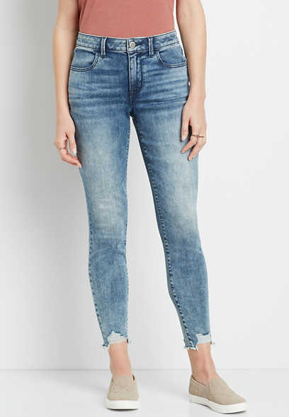 DenimFlex™ High Rise Acid Wash Destructed Hem Jegging
