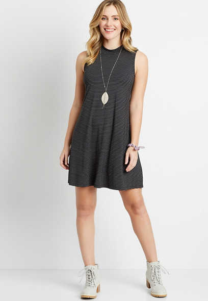 24/7 Black Stripe Mock Neck Shift Dress