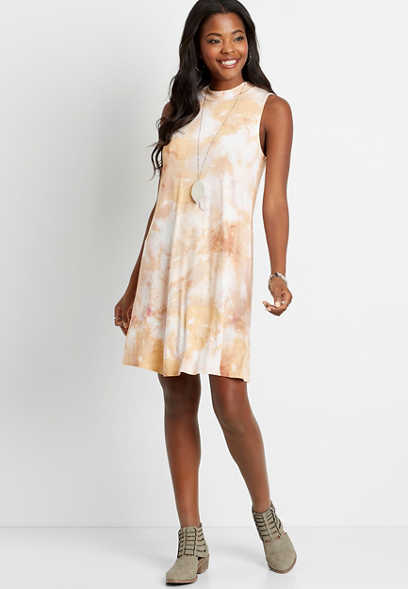 24/7 Tie Dye Mock Neck Shift Dress