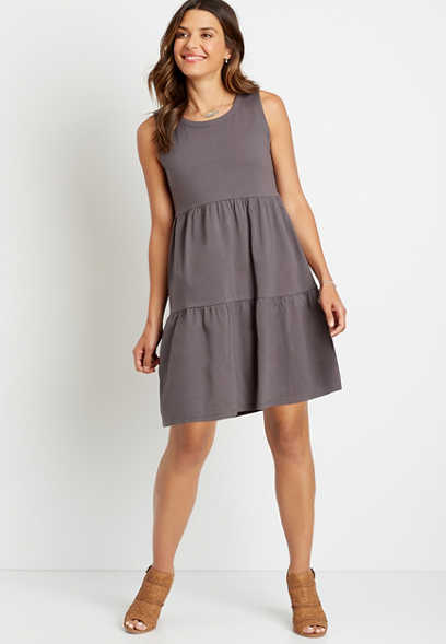 24/7 Gray Tiered Babydoll Mini Dress