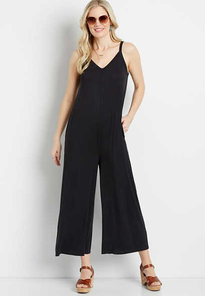 24/7 Black Wide Leg Cropped Pocket Jumpsuit