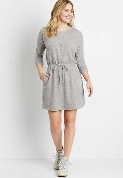 Gray Tie Waist Pocket Mini Dress