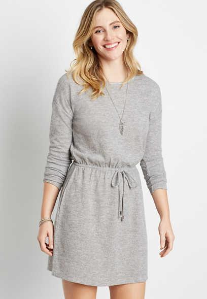 Maurices Gray Tie Waist Pocket Mini Dress