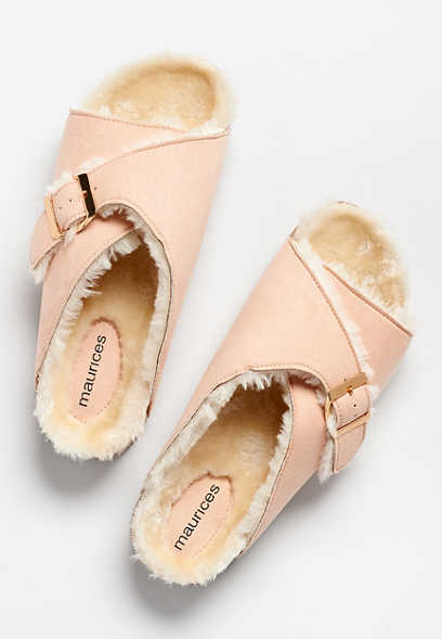 Ophelia Blush Faux Fur Slipper