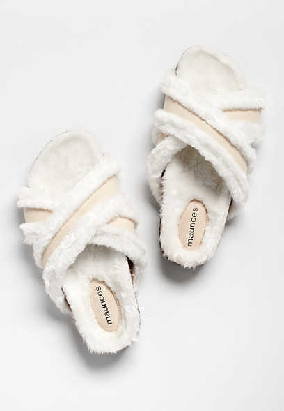 Opal Ivory Criss Cross Faux Fur Lined Slipper