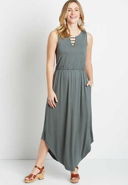 Green Strappy Metal Neck Maxi Dress