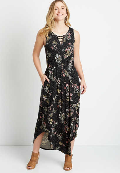 Black Chevron Floral Strappy Metal Neck Maxi Dress