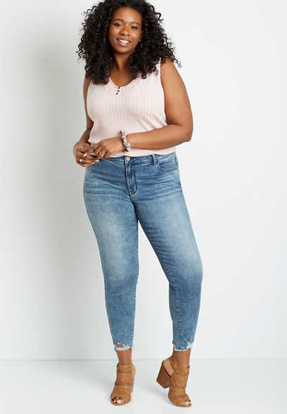 Plus Size DenimFlex™ High Rise Acid Wash Destructed Hem Jegging