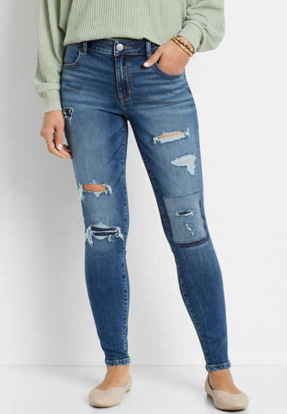 DenimFlex™ High Rise Dark Patchwork Destructed Jegging