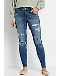 M Jeans by Maurices Women's DenimFlex Patchwork Ripped Jeggings