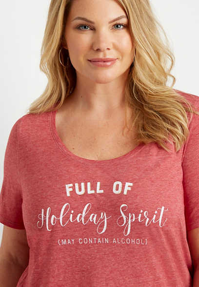 Plus Size Full Of Holiday Spirit Graphic Tee