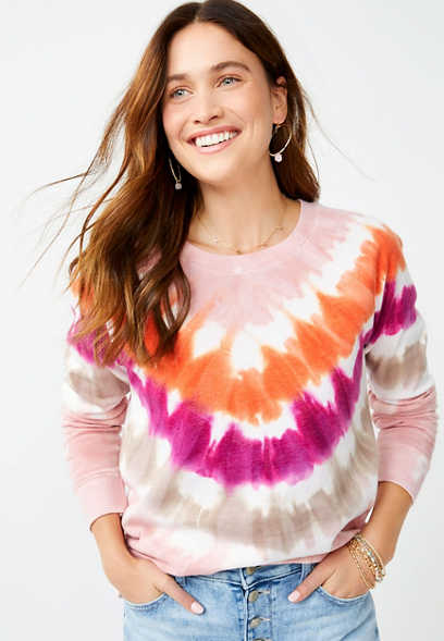 Bright Chevron Tie Dye Crew Neck Sweatshirt