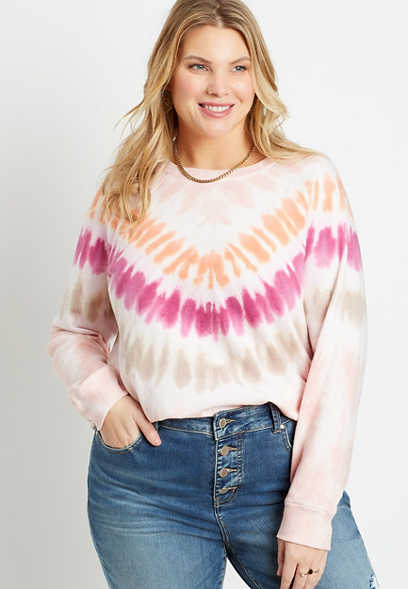 Plus Size Bright Chevron Tie Dye Crew Neck Sweatshirt