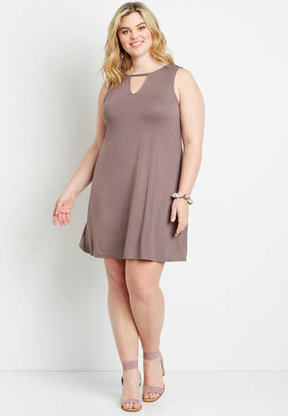 Plus Size 24/7 Solid Cut Out Neck Shift Dress