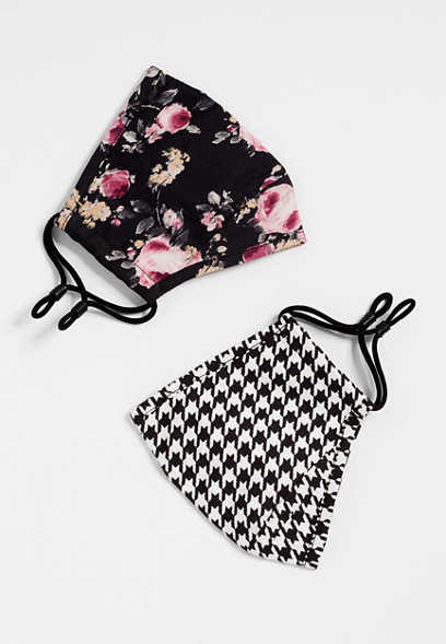 2 Pack Non-Medical Small Size Floral and Houndstooth Face Masks