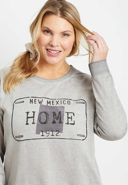 Plus Size Gray New Mexico Crew Neck Sweatshirt