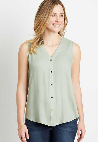 Light Green Button Down Tank Top