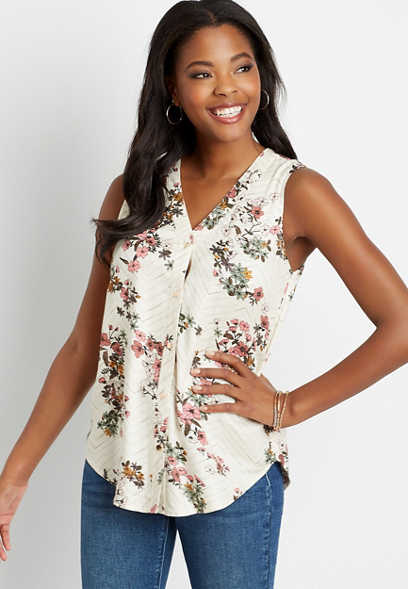 White Chevron Floral Button Down Tank Top