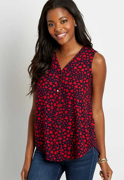 Blue Heart Print Button Down Tank Top