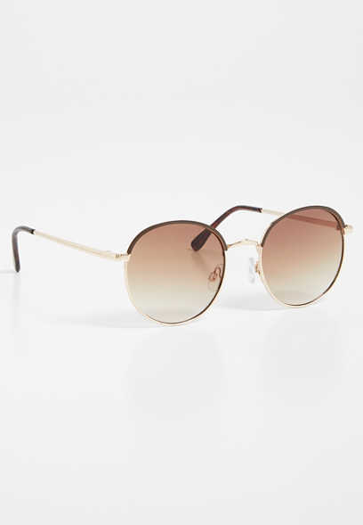 Brown Metal Round Sunglasses