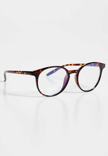 Round Tortoise Blue Light Lens Glasses