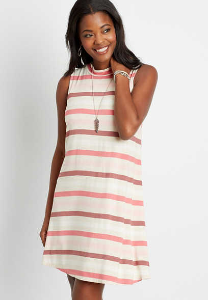 24/7 Pink Stripe Mock Neck Shift Dress
