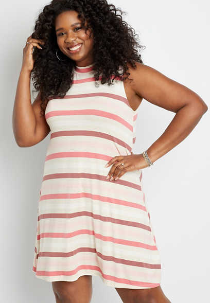 Plus Size 24/7 Pink Stripe Mock Neck Shift Dress
