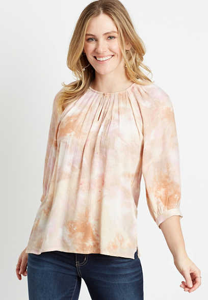 Tie Dye 3/4 Sleeve Peasant Top